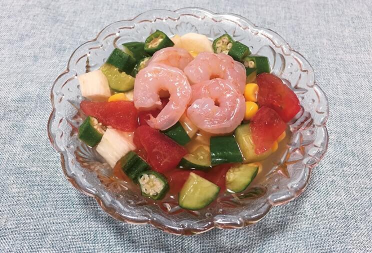 小えびとカラフル野菜の レモンジュレ仕立て